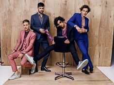 """The 1975 model some sharp Summer suits in GQ magazine's new """"Some Of The Most Stylish Men In Existence"""" feature, with Adam Hann killing it in a three-piece Dolce & Gabbana number, and the rest of the band styled in Saint Laurent by Hedi Slimane and Z Zegn Matthew Healy, George Daniel, The 1975 Me, Tom Ford Suit, Most Stylish Men, Christian Slater, Allen Ginsberg, Odell Beckham Jr, Gq Style"""
