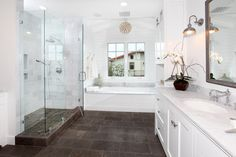 Bathroom tile Design Ideas, Pictures, Remodel and Decor - I like how the tile floor extends into the shower