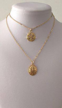7771f16ddfa Round gold charm necklace Gold flower pendant necklace Gold Gold Necklaces,  Chain Necklaces, Gold