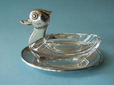 Charming German European 800 Silver Duck Novelty Open salt Bowl Hermann Bauer