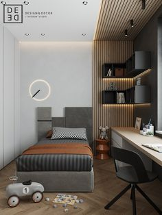 Balanced minimalistic interior based on contrast of monochrome shades with warm oak wood and juicy mustard accents. Small Room Design, Home Room Design, Kids Room Design, Master Bedroom Design, Modern Study Rooms, Suites, Deco Design, Minimalist Interior, House Rooms