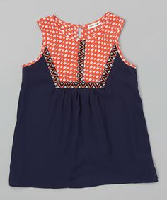 3eef20f7c93 Look what I found on #zulily! Navy & Coral Geometric Tank #zulilyfinds