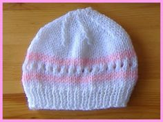"Love this cute little baby hat ~ perfect gift for a baby shower - or for charity donation. Amanda Baby Hat - with pom pom Amanda Baby Hat  Size Width: 5 ½ "" all around H Baby Hat Knitting Patterns Free, Baby Hat Patterns, Baby Hats Knitting, Knit Patterns, Free Knitting, Knitted Hats, Knitting Paterns, Newborn Knit Hat, Crochet Baby"