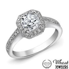 Octagonal Halo Engagement Ring with Round Diamond Center and Milgrain Edges  #engagementring #halo
