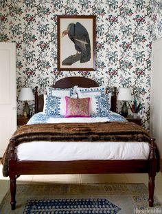 wallpaper, bed, rugs // Interior design by Sara Ruffin Costello