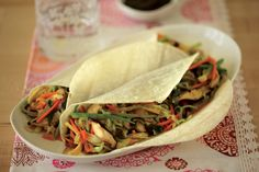Vegetable Moo Shu Wraps Recipe | Vegetarian Times.  Tried them last night and they're good!  Allow more time than the receipe says for chopping the veggies.
