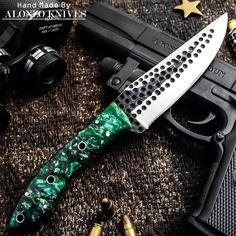 ALONZO KNIVES USA CUSTOM HANDMADE TACTICAL HUNTING HAMMERED1095 KNIFE CORELON454 #AlonzoKnives
