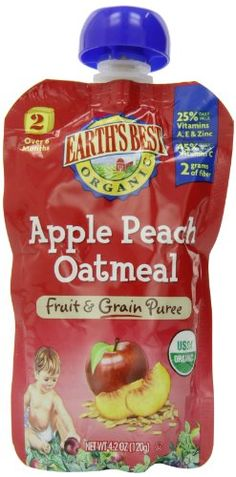 Earth's Best Organic Apple Peach Oatmeal Puree, 4.2 Ounce Pouches (Pack of 12) - http://goodvibeorganics.com/earths-best-organic-apple-peach-oatmeal-puree-4-2-ounce-pouches-pack-of-12/