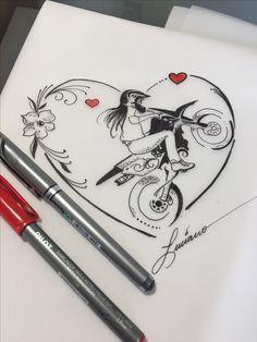 Desenhos Wrist Tattoos, Girl Tattoos, Tatoos, Tattoo Sketches, Tattoo Drawings, Harley Davidson Images, Cholo Art, Moto Cross, Stylish Girl Images