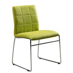 Cube tuoli vihreä keinonahka, kromatut jalat
