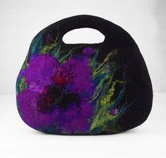 Designer Bag Felted Bag Nunofelt Handbag Rose Purse by filcant