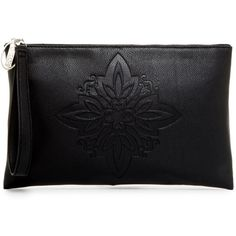 Carlos By Carlos Santana Greta Embossed Large Clutch ($20) ❤ liked on Polyvore featuring bags, handbags, clutches, black, embossed purse, floral purse, embroidered purse, carlos by carlos santana handbags and strap purse