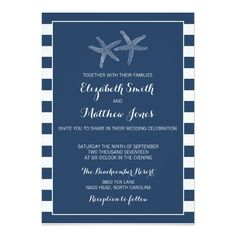 Wedding Invitations Beach Starfish Nautical