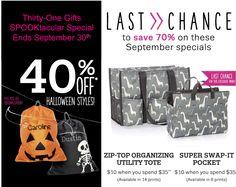 Thirty-One Gifts – Last Chance! #ThirtyOneGifts #ThirtyOne #Monogramming #Organization #September2017Special #SaveBig #SuperSwapItPocket #ZipTopOrganizingUtilityTote