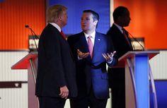 Donald J. Trump and Ted Cruz talked during a break at the Republican presidential debate inNorth Charleston, S.C., last week.
