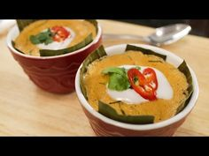"▶ Steamed Red Curry Custard - ""Haw Mok"" ห่อหมกปลา   It's a spicy fish curry and a smooth, silky custard rolled into one! This unusual combination is a classic, traditional Thai dish that's one of my mom's favourite meals!  For recipes: http://hot-thai-kitchen.com"