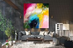 Large Abstract Painting,Large Abstract Painting on Canvas,extra large wall art,colorful abstract,acrylic textured FY0034