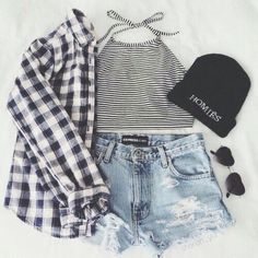 Simple teenage outfit with a homie beanie a black and white flannel, light jean shorts, and a black and white crop top