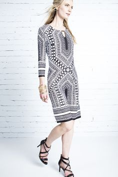 For the woman on the go. The tile print shift dress what works hard to make you look good. Print Shift, Shoe Shop, Monochrome, Fashion Online, Tile, Fashion Accessories, Feminine, Plus Size, Woman