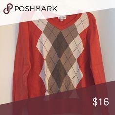 Sweater Orange, tan, brown, argyle sweater st johns bay Sweaters Crew & Scoop Necks