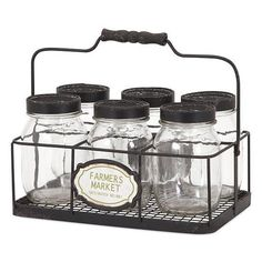 Glass Canning Jars and Carrier - Set of 7 ($47) ❤ liked on Polyvore featuring home, kitchen & dining, food storage containers, glass canning jars, lidded jars, glass spice jars, glass mason jars and home decorators collection