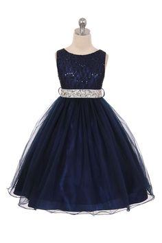Navy Blue Sleeveless Shiny Tulle Flower Girls Dress with Beaded Waist