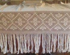 "Delicate,Antique, Filet Lace Shelf Cover. Mantel Cover, Valance. Tassels and Damask Edging. 64"" long 162cm by fleursenfrance. Explore more products on http://fleursenfrance.etsy.com"