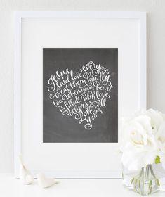 Chalkboard Style Modern Calligraphy Art Print by sugarfresh