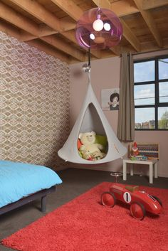 The Cacoon Bonsai hammock is perfect for inside too! http://loopeedesign.com/cacoon-bonsai.html