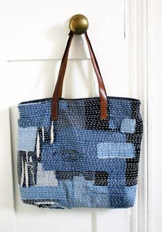 sashiko patchwork scraps bag great idea for old denim