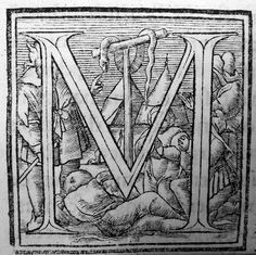 Copper Serpent?  Woodcut Initial Cap, Johannes Oporinus, Basel, early 16th c.