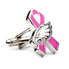 Philadelphia Eagles Breast Cancer Awareness Cufflinks