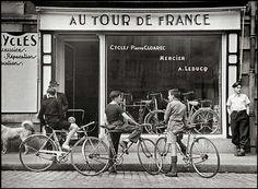 Robert Capa. Le tour de France,  Le magasin de cycles de Pierre Cloarec a Quimpe, 1939.
