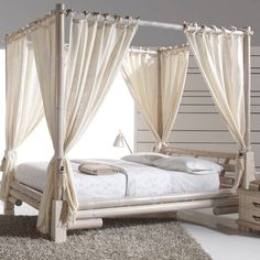 Image result for 4 poster bed voiles | idée chambre/lit | Pinterest ...