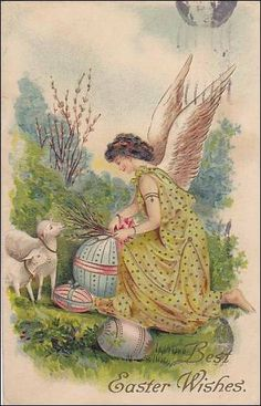 Best Easter Wishes Angel gathering branches by sharonfostervintage, $4.00