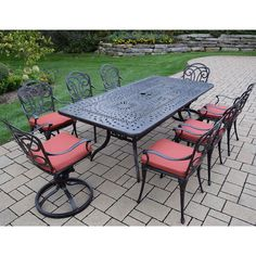 Oakland Living Corporation Cast Aluminum 9-piece Dining Set, with Rectangular Table, 6 Chairs, 2 swivel Rockers, and Spun Polyester Cushions (Multi-Tone Black), Size 9-Piece Sets, Patio Furniture (Acrylic)