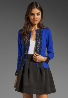 Cobalt  lace cardigan, cream shirt, black shirt