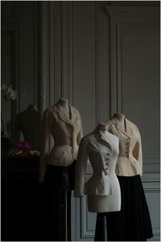 BAR JACKETS, 1947-1997: Bar Jacket 1997 (left), Toile being worked on by ateliers (center), Bar jacket, 1947 (right).