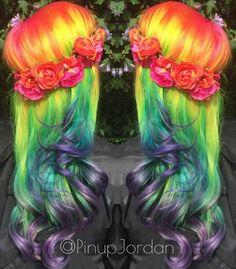 Orange yellow green rainbow dyed hair