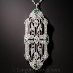 Art Deco Platinum, Diamond and Emerald Pendant $4,950.00