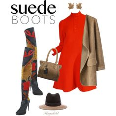 Suede Boots by ragnh-mjos on Polyvore featuring Christian Dior, Chicwish, Burberry, Oscar de la Renta and rag & bone