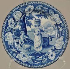 Antique Milkmaid and Piping Shepherd Blue Transferware Eel Plate 1825   eBay