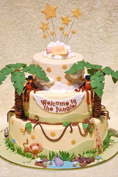 Welcome to the jungle cake--E's nursery theme was giraffes and lions so this would work.