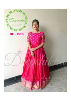 Stunning Pink Color Floor Length Anarkali Dress With Pattu Boarder Hand Embroidery Work On Yoke For Queries Kindly Whats 91
