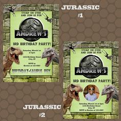 Jurassic World Park Dinosaur Birthday Invitations & Thank You Cards Printable Uprint Digital Printed * 7 designs * by KDesigns2006