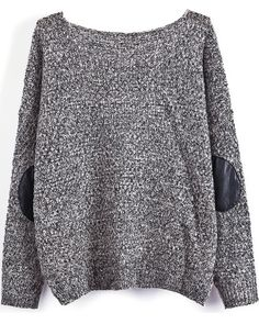 Grey Long Sleeve Elbow Patch Loose Sweater - Sheinside.com