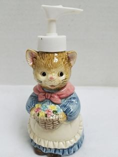 Figural Mrs Whiskers Kitty Cat Soap Lotion Dispenser OTARGIRI Japan Hand Painted #Otagiri