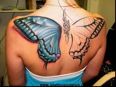 Unfinished butterfly tattoo. I love the 3D look of it.
