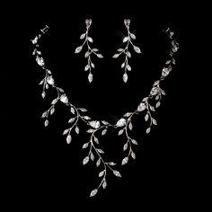 Dramatic Cubic Zirconia Vine Wedding Jewelry Set - sale! - Affordable Elegance Bridal -