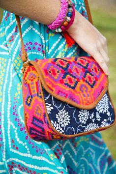 Crossbody Patterned Purse ~ What a sweet little purse! Love those textiles.